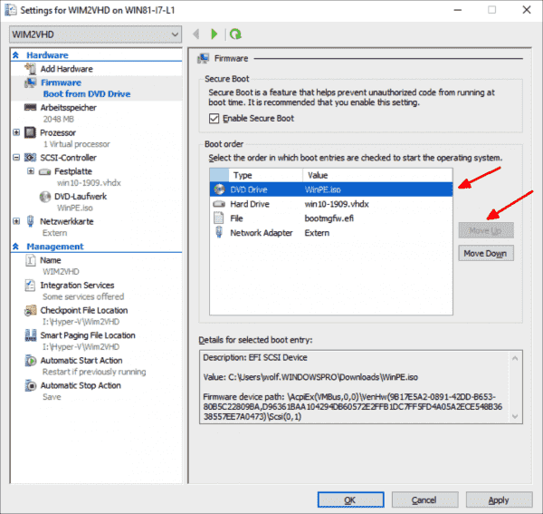 Change the boot order of the VM so that it starts from WinPE ISO