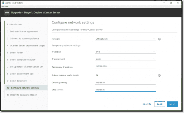Configure temporary network settings