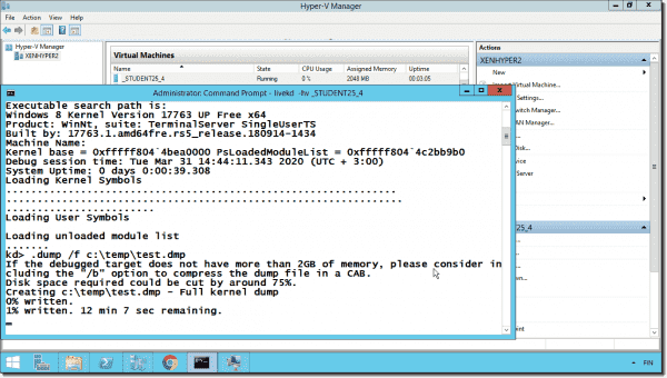 Creating a full memory dump from a Hyper V guest VM