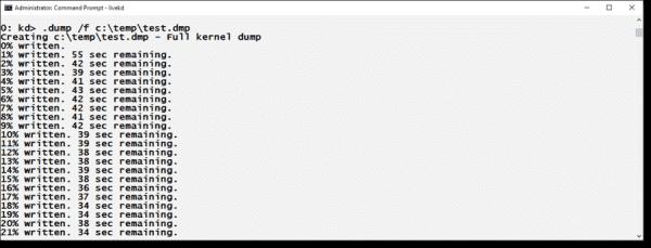 Creating a full memory dump from inside the Kernel Debugger