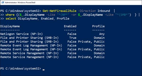 Default Windows Defender Firewall rules for file services