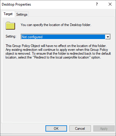 Disable folder redirection in the GPO editor