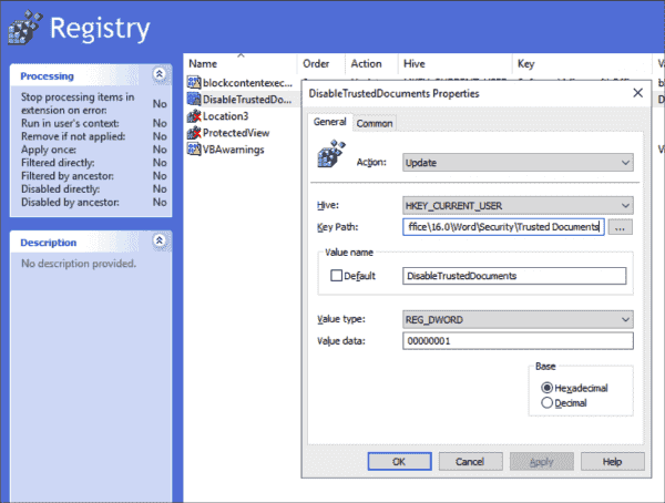 Disable trusted documents with a new registry item