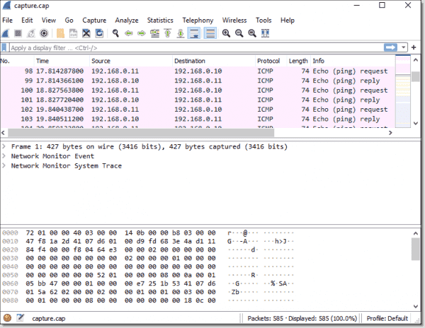 Exported trace file opened in Wireshark