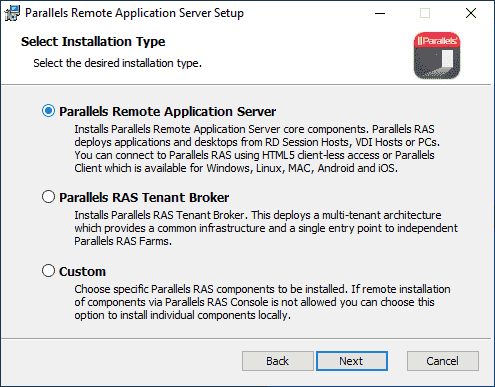 Installing Parallels RAS