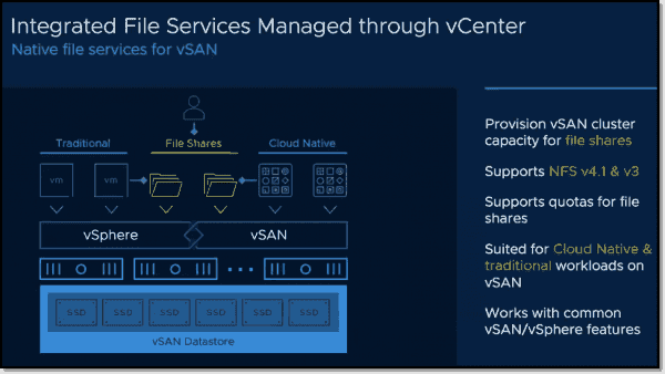 Integrated file services managed through vCenter