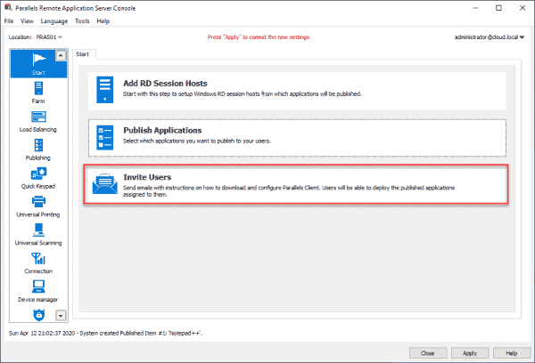 Invite users to download the Parallels application and connect