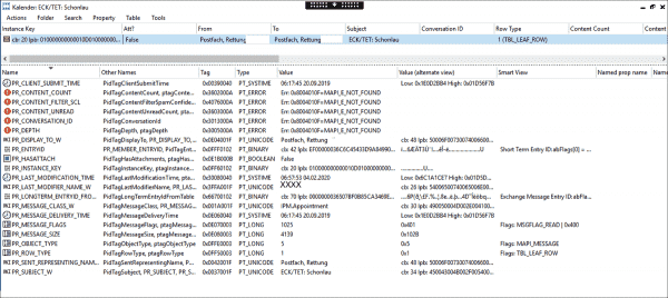 MFCMAPI also detects problems, but the error codes do not allow drawing any conclusions about the cause