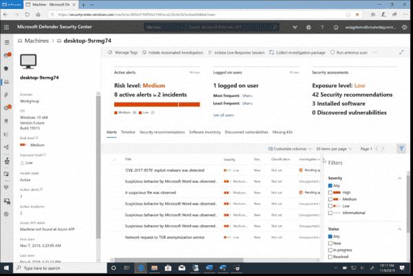 Microsoft Defender Security Center alerts