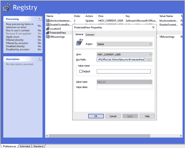 Periodically reset protected view settings to the safe default values by deleting user customizations