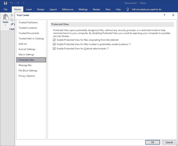 Protected view settings in the Microsoft Word Trust Center