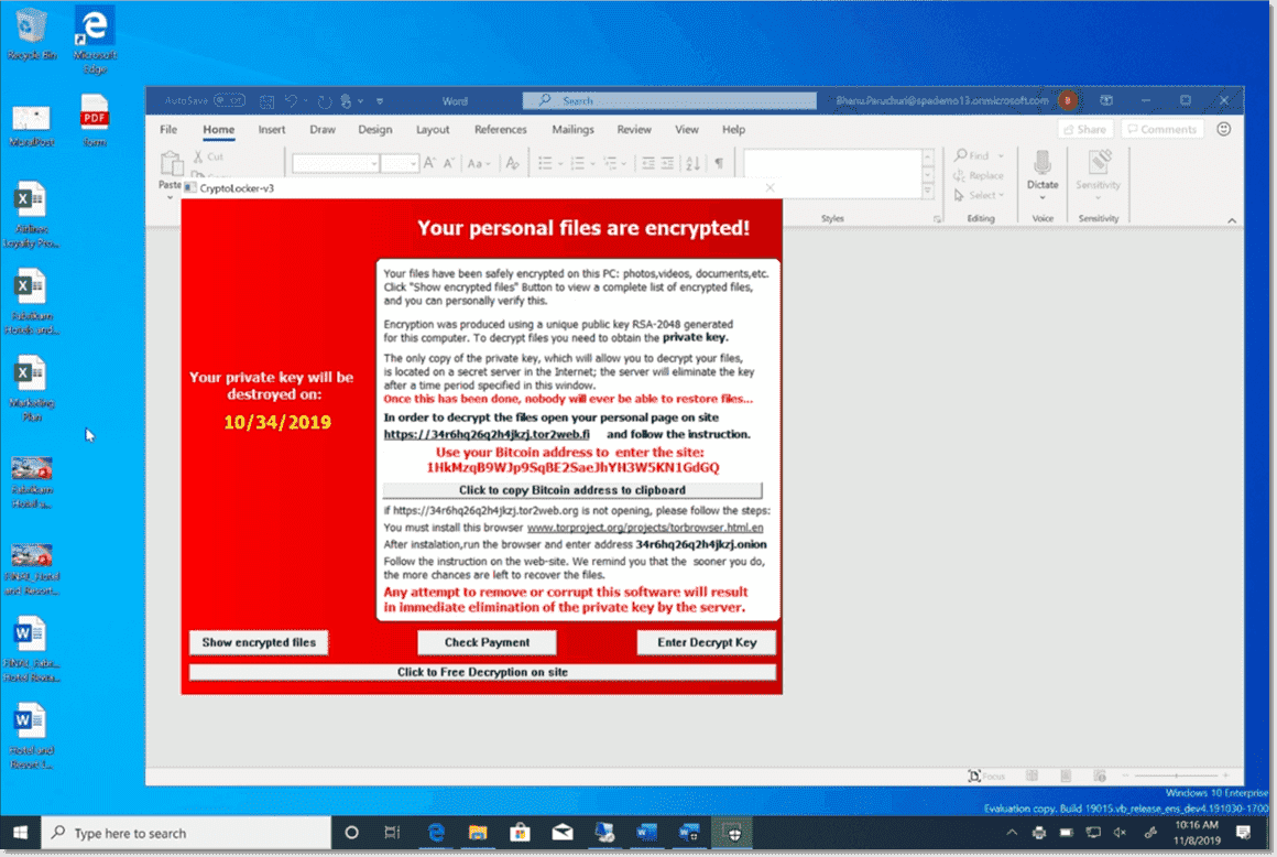 Ransomware running inside the Application Guard for Office container