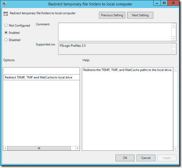 Redirect temporary file folders to local computer
