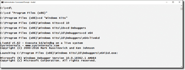 Running LiveKD.exe on a computer with debugging tools installed