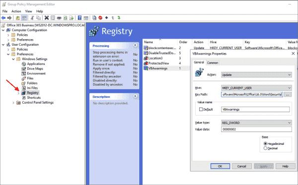 Set registry keys for macro security centrally via GPP