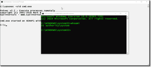 Starting a command prompt with the SYSTEM account