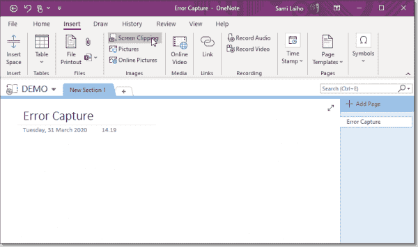 Starting a screen capture from OneNote