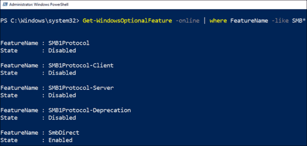 Using PowerShell to check if SMB1 is installed