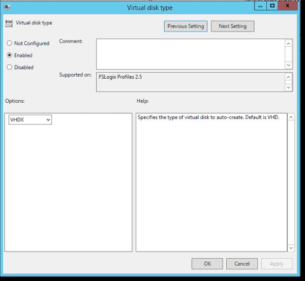 Virtual disk type