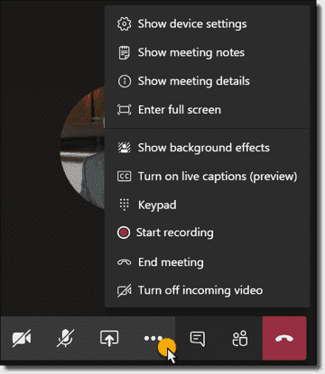 Access options during a meeting