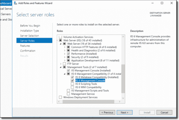 Adding IIS and IIS6 Management Tools via Server Manager