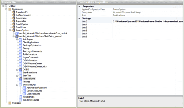 Attaching programs to the taskbar via the answer file