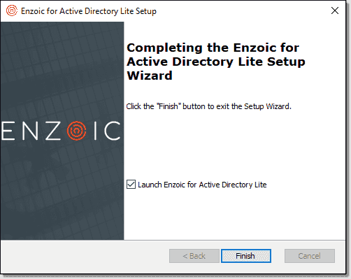 Completing the installation of Enzoic for Active Directory Lite
