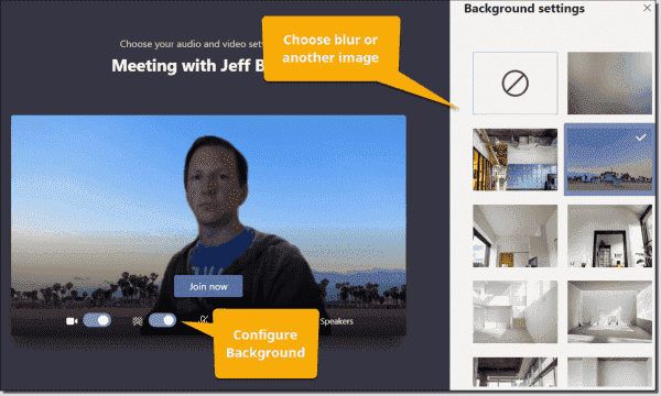 Configuring background effects prior to joining a meeting