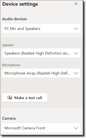 Configuring device settings prior to joining meeting