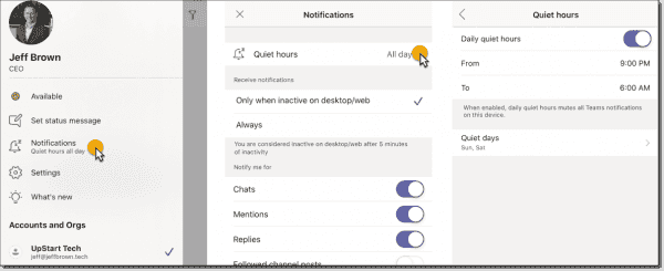 Configuring quiets hours on mobile