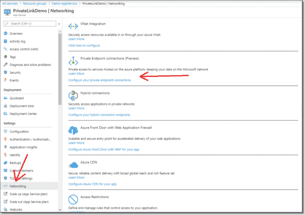 Connecting the Azure Private Link
