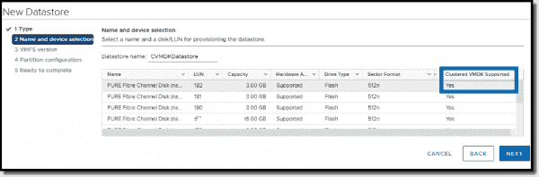 Create a new datastore with Clustered VMDK support