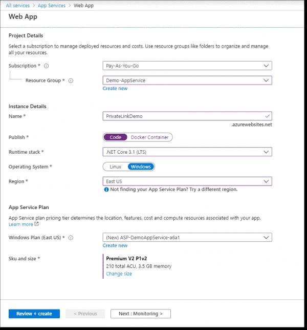 Create a simple app service to host the app