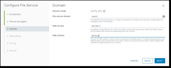 Create a vSAN namespace domain