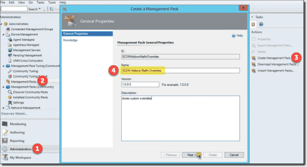 Creating SCOM.Addons.MailIn.Overrides Management Pack to store customizations