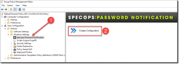 Creating the Specops Password Notification configuration