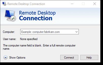 Establishing a remote desktop connection for remote access
