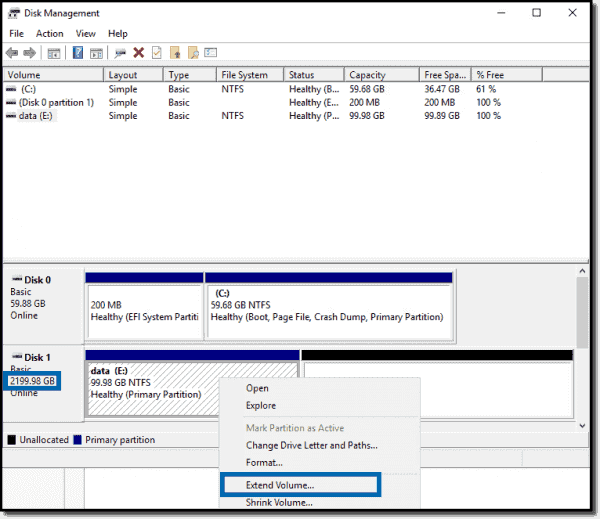 Extending the guest OS disk
