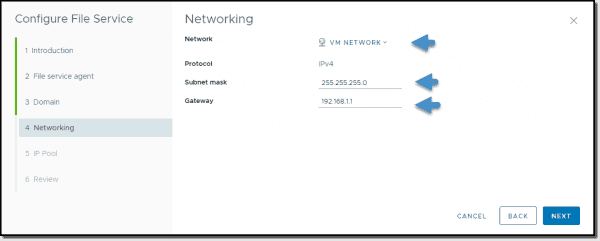 Fill in the networking details