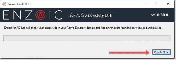 Running the Enzoic for Active Directory Lite password scan