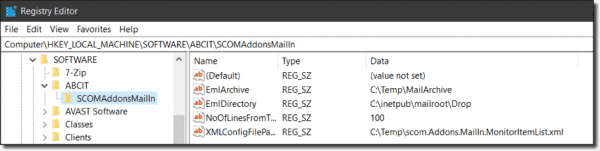 SCOM Addons MailIn MP—Expected Registry