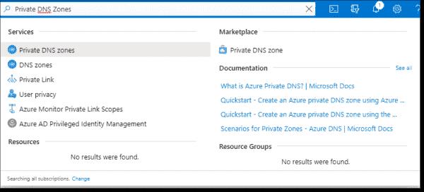 Search for the Azure Private DNS Zone service