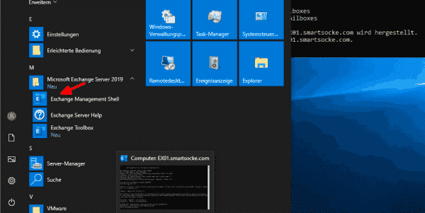 Setup adds an icon for the Exchange Management Shell to the Start menu