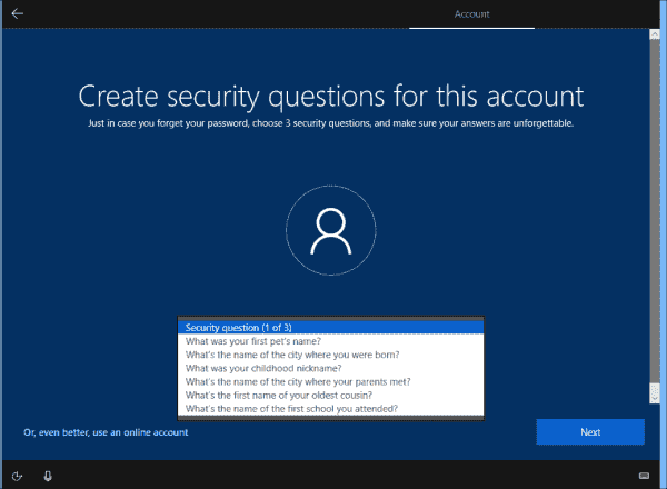 Users have to store answers to three security questions when setting up a local account