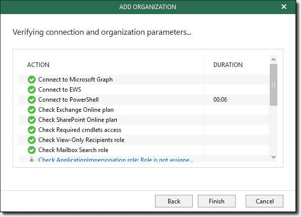 Verifying the connection and organization parameters