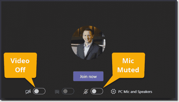 Video off and microphone muted on join options screen