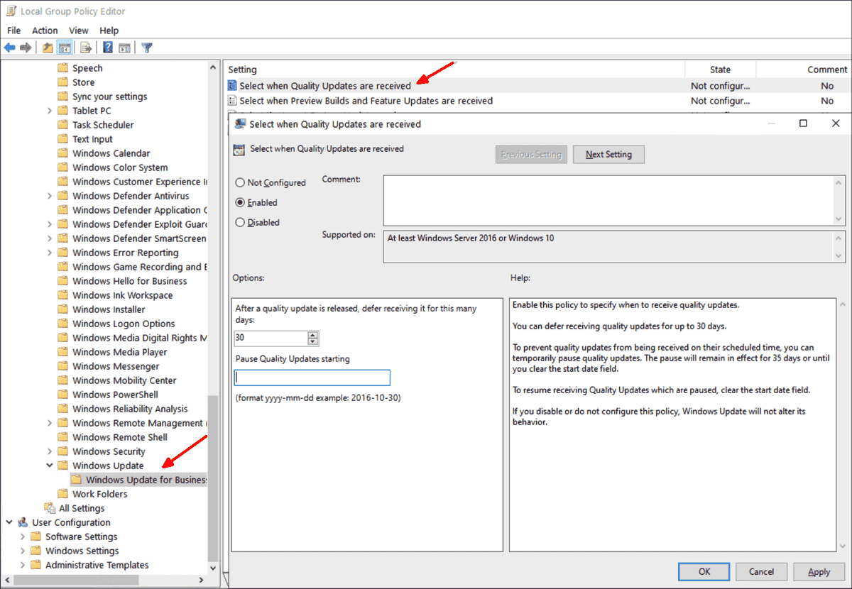 Configure updates and reboot options for Windows 10 using group policies