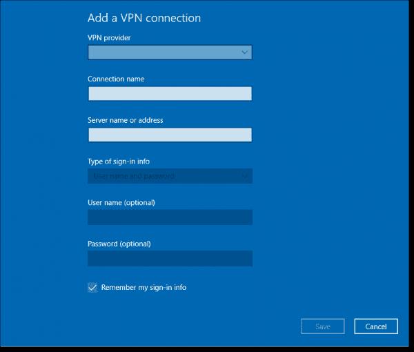 Windows 10 provides built in VPN connectivity