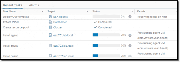 vSAN will create three agent VMs and a new resource pool