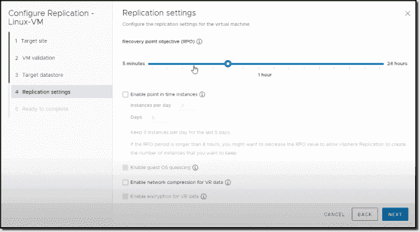 vSphere Replication RPO settings screen
